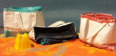 Removing sand from your beach tote has never been easier! From left: Turquoise coral, Navy coral and Orange fish. Coral Navy, Coral Turquoise, Orange Fish, Beach, Products, The Beach, Beaches, Gadget