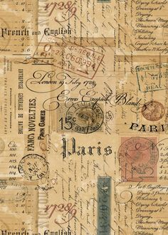 Printable Ephemera Parisian Script, Signage, Vintage Stamps & Correspondance - ATC Digital Collage Sheet for Papercraft- pdf - jpg - png - Best Picture For diy surgical mask free pattern For Your Taste You are looking for something, and - Album Vintage, Papel Vintage, Vintage Scrapbook, Vintage Stamps, Vintage Labels, Vintage Ephemera, Vintage Prints, Vintage Paper Crafts, Printable Scrapbook Paper