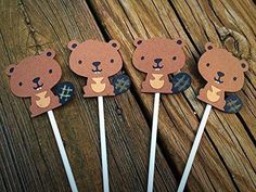 "12 BEAVER Cupcake Toppers- Woodland. With This listing you will receive Twelve (12) Themed Cupcake Topper That are shown in the first picture of this listing. They are single sided, hand made with layered high quality card stock paper, that are approximately 2"" and attached to a 4"" lollipop stick *Colors may vary* ♥♥PLEASE LEAVE ANY DESIGN OR COLOR CHANGES IN THE ""SELECT OPTIONS"" AND THEN ""CUSTOMIZE"" TAB WHEN PLACING YOUR ORDER. BE SURE TO LOOK FOR MATCHING ITEMS FOR THIS DESIGN THROUGH…"