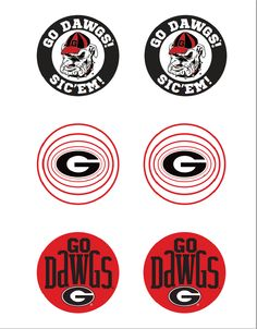 UGA Buttons Printable