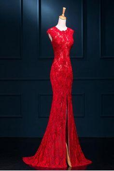 Red Lace Prom Dress, Split Prom Dresses, Mermaid Prom Dresses Lace, Prom Dresses 2016, Prom Party Dresses, Lace Mermaid, Dress Red, Prom Gowns, Formal Dresses