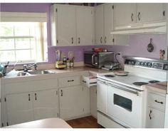 lavender and white kitchen
