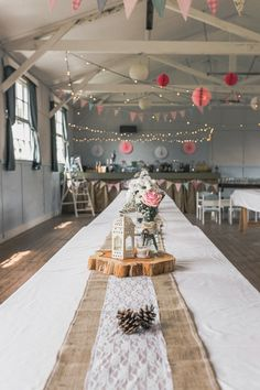 Village Hall Long Tables Hessian Lace Log Bunting Lights Lanterns Pastel Pretty Summer Picnic Wedding http://www.loveluella.co.uk/