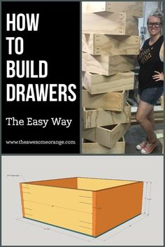 How to Build Drawers - The Easy Way, a tutorial by www. How to Build Drawers – The Easy Way, a tutorial by www.theAwesomeOra… How to Build Drawers – The Easy Way, a tutorial by www. Woodworking For Kids, Easy Woodworking Projects, Popular Woodworking, Woodworking Plans, Woodworking Jointer, Woodworking Apron, Woodworking Patterns, Woodworking Machinery, Woodworking Classes