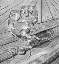 Landscape Drawings In Pencil | Wine On The Deck | S R Pearce Fine Art