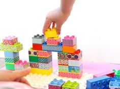 Washi tape blocks for kids.                                                                                                                                                                Families Gloucestershire  http://www.familiesonline.co.uk/LOCATIONS/Gloucestershire#.UutlEvl_uuI