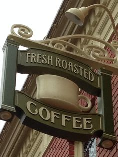 Walt Disney World Main Street coffee sign.☕️ ☕ ☕ meet  me here everyday ☕️ ☕