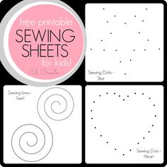 Sewing Sheets for Kids! Like dot-to-dot, but with a sewing machine! Not just for kids!