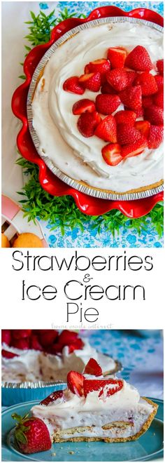 Strawberries and Ice Cream Pie   This easy ice cream pie makes a great spring or summer dessert recipe. Fresh strawberries, ice cream, and whipped topping all frozen into a graham cracker crust. This is a quick and easy pie recipe that takes less than 10 minutes to put together! If you're looking for an easy pie recipe for Easter or Mother's day make sure you give this strawberry ice cream pie a try! #SimpleGoodness #ad