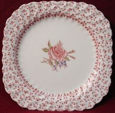 """Johnson Brothers China Rose Bouquet Pink Pattern Square Salad Plate 7 1 2"""" 