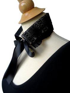 Col chemise amovible Amikol dentelle noir