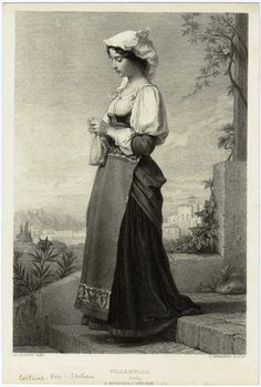 Date: century Notes: Italian traditional dress of the century. Contributed by: courtesy of New York Public Library Digital Gallery Textiles, Knit Art, Sewing Art, Historical Pictures, Illustrations, Vintage Knitting, Artist Art, Fashion History, Vintage Images
