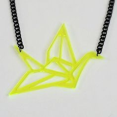 Fluorescent yellow plexiglass origami bird necklace on black chain.  Hand assembled and limited edition.