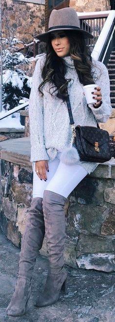 #winter #fashion /  Grey Hat / Grey Turtleneck / White Skinny Jeans / Grey Velvet OTK Boots