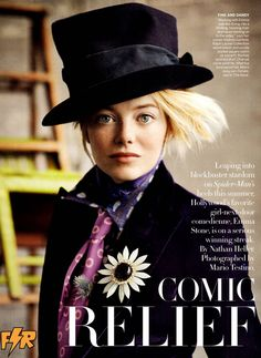 Emma Stone by Mario Testino @Emily Price ,  Emma Stone dressed in Mad Hatter garb for a magazine. (I think Vanity fair) You two were meant to be friends.