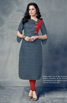 Casual Wear Cotton Printed Long Kurtis Wholesale Collection - All About Salwar Neck Designs, Kurta Neck Design, Kurta Designs Women, Dress Neck Designs, Sleeves Designs For Dresses, Churidar Designs, Latest Kurti Designs, Printed Kurti Designs, Simple Kurti Designs