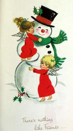 Adorable Vintage Christmas Card.  Collectible. Scrap booking. Angels Hug Snowman...
