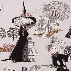 grey witch fabric Alexander Henry The Ghastlies smoke