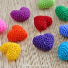 Learn how to make these tiny crochet hearts with a step by step video tutorial. idea, tutorials, colors, tutorial crochet, crochet hearts, blog, diy, rainbow, crafts