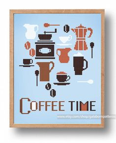 Coffee time - PDF Counted cross stitch pattern - Modern embroidery - Kitchen                                                                                                                                                                                 Mehr