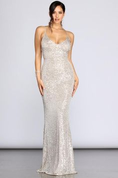 Explore gorgeous mermaid to trumpet dresses, ball gowns to long formal dresses from Windsor! Shop a large variety of flowing to fitted long dress styles. Metallic Formal Dresses, Silver Sequin Dress, Silver Gown, Sequin Gown, Sequin Fabric, Formal Wear, White Bridesmaid Dresses, Bridal Dresses, Vestidos