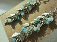 Glowing Mint Crystal Leaf Earrings by LittleMissGypsyJewel on Etsy, $18.95