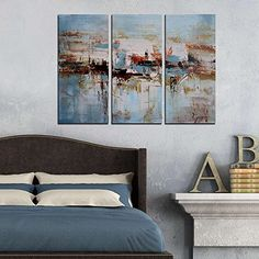 "ARTLAND Modern 100% Hand Painted Abstract Oil Painting on Canvas ""Boating on The Lake"" 3-Piece Gallery-Wrapped Framed Wall Art for Living Room for Wall Decor Home Decoration 24x36inches Artland http://www.amazon.com/dp/B00ZZJ43B8/ref=cm_sw_r_pi_dp_F5zexb0W4XSYC"