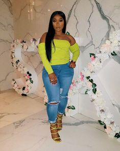 Image may contain: 1 person, standing and shoes Bad And Boujee Outfits, Thick Girls Outfits, Neon Outfits, Curvy Girl Outfits, Cute Outfits With Jeans, Cute Comfy Outfits, Chic Outfits, Plus Size Outfits, Fashion Outfits