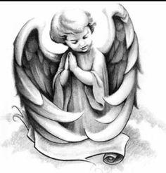 Cherub- sleeping one on same page Cherub Tattoo Designs, Bullseye Tattoo, Religious Tattoos, Ange Demon, Asian Tattoos, Memorial Tattoos, Angel And Devil, Desenho Tattoo, Fantasy Kunst