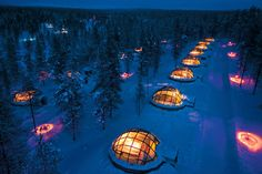 Watch the aurora borealis from the Igloo Village at Kakslauttanen