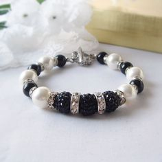 Winter Elegance Black and White Swarovski Pearl Bracelet with 3 Black Shambalas and Rhinestone Rondelles