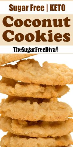 Sugar Free Keto Coconut Cookies - These sugar free and keto cookies are so yummy and easy recipe too! Read more at: thesugarfreedi - Keto Cookies, Sugar Free Cookies, Coconut Cookies, Sugar Free Desserts, Sugar Free Recipes, Milk Recipes, Low Carb Desserts, Low Carb Recipes, Sugar Free Biscuits