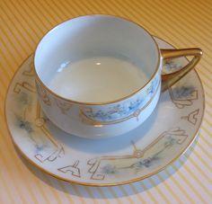 Rosenthal Donatello Hand Painted Blue Floral Tea by PucaByElphiena #vogueteam #etsygiftideas #vintageporcelain