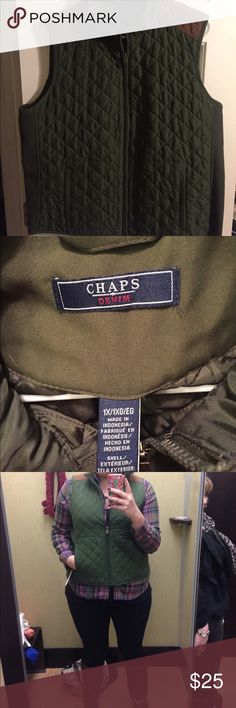 Chaps Denim brand Vest Adorable vest from the Chaps Denim brand! SO cute. Army green and camel colored. Zips up. Chaps Jackets & Coats Vests