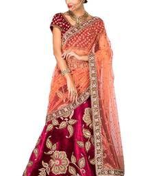 Buy Bridal Lehenga Online from Mirraw.com Wedding Lehenga Designs, Bridal Lehenga Online, Sari, Velvet, Blouse, Prints, Beautiful, Color, Fashion