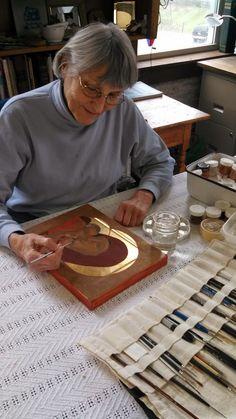 Kay Walters painting in her Cedarburg studio.