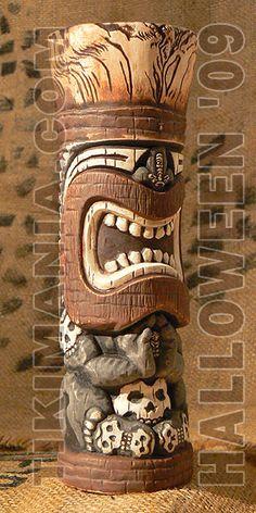 Bone Productions! Tiki Man, Tiki Tiki, Rockabilly Art, Tiki Statues, Tiki Totem, Polynesian Art, Tiki Lounge, Tiki Torches, Africa Art