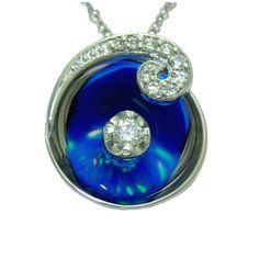 Opal Pendant with 0.11 Cttw. Diamonds https://www.goldinart.com/shop/colored-gemstones-necklaces/opal-pendant-with-0-11-cttw-diamonds #14KaratWhiteGold, #OpalPendant