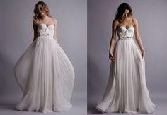 Natural White Annie Wedding Gown Silk Hand Gathered Bustier Gown. $995.00, via Etsy.