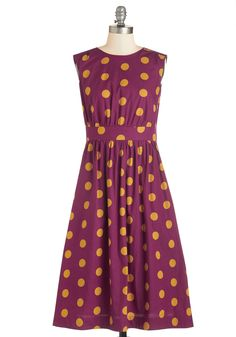 Too Much Fun Dress in Dotted Burgundy - Long. Theres no such thing as overloading on fun, but if it were possible, why not go all-out in this adorable sleeveless dress? #pink #modcloth