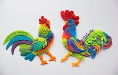 Roosters by Adora-Mander.deviantart.com on @DeviantArt (polymer clay)