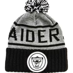 Mitchell   Ness Oakland Raiders High 5 Pom Beanie (Black Grey) c6bad70ae9e