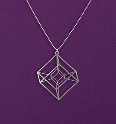 Hypercube- Geometrical necklace- Tesseract- silver Geometry necklace- 4D cube necklace