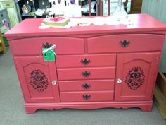 $219 - This vintage wood buffet has been painted red lightly distressed I'm has black stenciling. Just the right size for a media cabinet or petit buffet. The cabinet measures 46 inches across the front, 18 inches deep and stands 31 inches tall. The cabinet can be seen in booth A8 at Main Street Antique Mall 7260 East Main St ( E of Power Rd ) Mesa 85207  480 9241122open 7 days 10 till 530  Cash or charge 30 day layaway also available