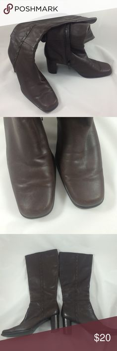 Worthington dark brown leather boots Beautiful dark brown leather boots. They are soft, warm and so cushiony, it feels like you're walking on a crowd. They have been worn a few times and have a few worn signs around the heels and toes.  A good polishing would perk them right up!  You're going to love these shoes!! Worthington Shoes Heeled Boots