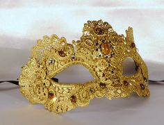 Gold macamé mask, masquerade mask, elegant mask $69.00