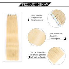 Yilite Hair Remy Tape In Human Hair Extensions, 9 Colors Silky Straight European Tape in Hair Extensions Salon Style Remy Hair Extension Salon, Free Shed, Tape In Hair Extensions, Moisturize Hair, Salon Style, Split Ends, Remy Human Hair, Weave Hairstyles, Hair Type