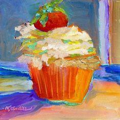 """Carmel Cupcake 13038"" -8x8 in. Original Fine Art for Sale - © Nancy Standlee"