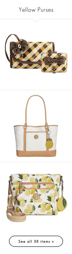 """Yellow Purses"" by eternalfeatherfilm on Polyvore featuring bags, handbags, shoulder bags, beige, fringe shoulder bag, bucket bags, tote handbags, tote shoulder bags, drawstring bucket bag and clutches"