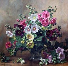 <b>Albert Williams (1922-2010)</b> <br  /> oil on canvas, <br  /> Hollyhocks and paeonies, AB252, <br  /> signed, <br  /> <i>25.5 x 26.5in.</i>
